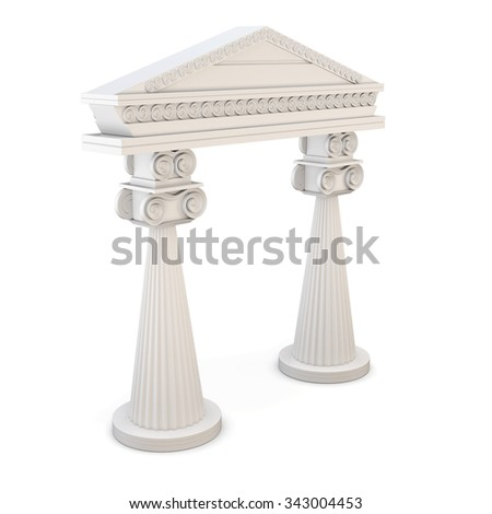 Classic entrance with columns isolated on white background. 3d rendering. - stock photo