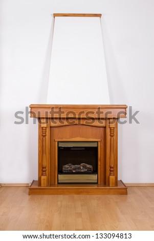 Classic fireplace . - stock photo