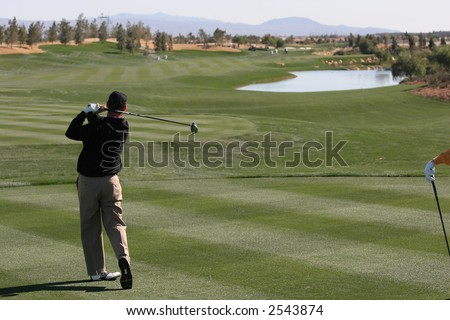 Classic golf course in Palm Springs, CA, hole 10 - stock photo
