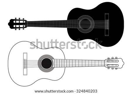 Classic Guitar . illustration isolated on white background. Raster version. - stock photo