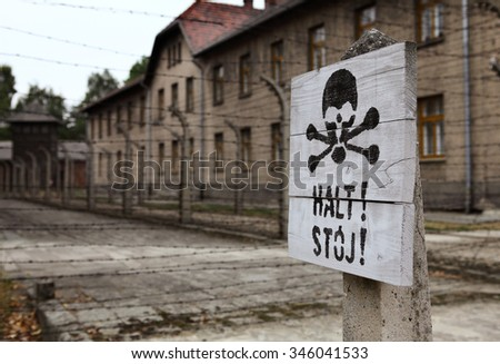 classic historical view of Auschwitz death camp in color - stock photo