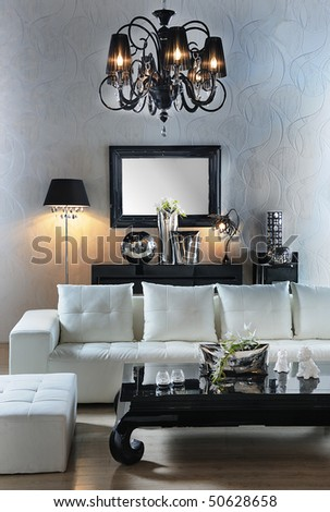 classic home decoration with black and white - stock photo