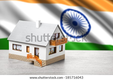 classic house against Indian flag background - stock photo