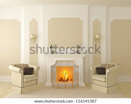 Classic interior in beige tones, the central part of which has a fireplace - stock photo