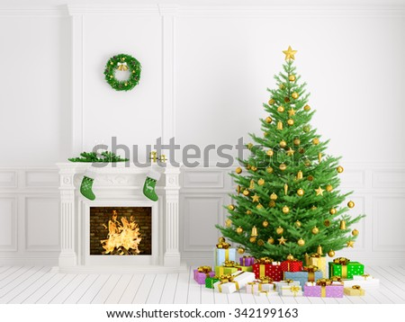 Classic interior of a room with christmas tree, fireplace,wreath,gifts,candles,stockings 3d rendering - stock photo