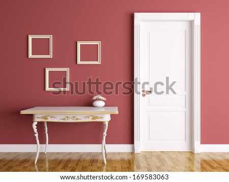 Classic interior of a room with door and table - stock photo