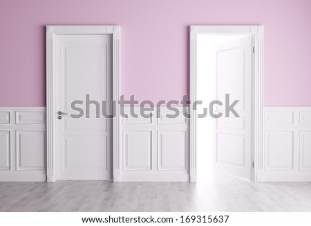 Classic interior with opened and closed doors - stock photo