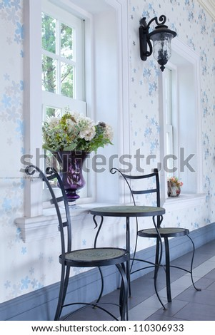 Classic interior with two chair and white window - stock photo