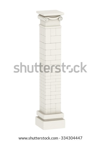 Classic Ionic Composite Column. 3d rendering. - stock photo