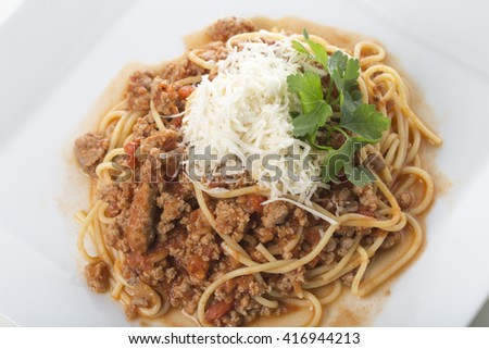 Classic italian bolognese pasta with tomato sauce and parmesan. Macro. Photo can be used as a whole background. - stock photo