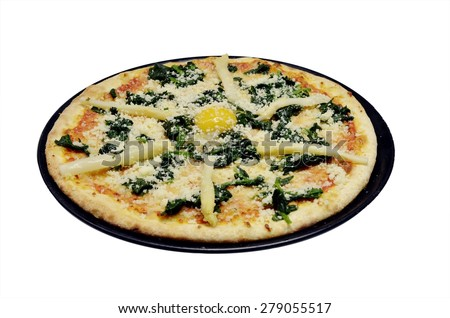 Classic italian pizza with asparagus, mozzarella cheese, egg and spinach in black plate on white background. Point of view - stock photo