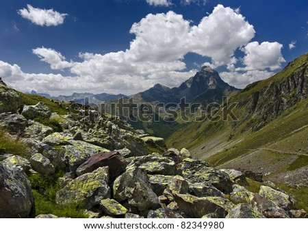 Classic landscape in the pyrenees - stock photo