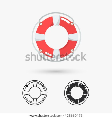 classic lifebuoy icon - stock photo