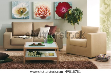classic living room - stock photo