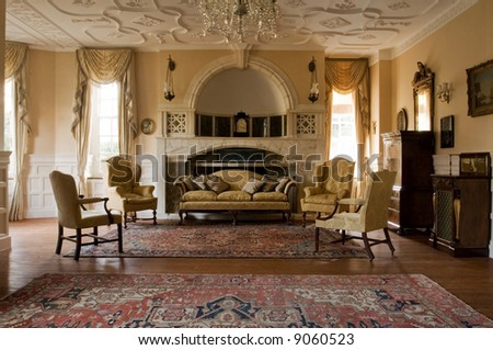 Classic living room in a period mansion - stock photo