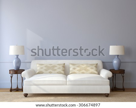 Classic living-room interior with white couch near empty gray wall. 3d render. - stock photo