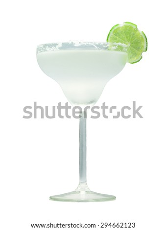 Classic margarita cocktail with lime slice and salty rim. Isolated on white background - stock photo