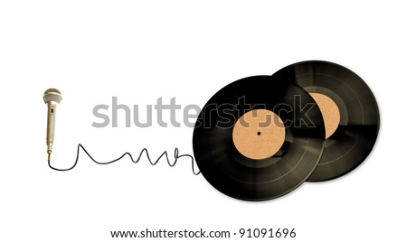 Classic Microphone and CD over white background - stock photo