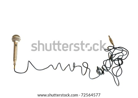 Classic Microphone over white background - stock photo