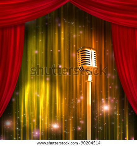 Classic Microphone with Colorful Curtains - stock photo