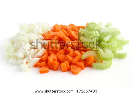 Classic mix of carrots, celery and onion all chopped up and ready to be used. - stock photo