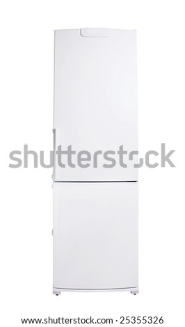 classic model of refrigerator isolated on white - stock photo