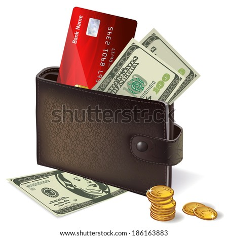 Classic modern black leather wallet with bank credit card banknotes and pile of gold coins  illustration - stock photo