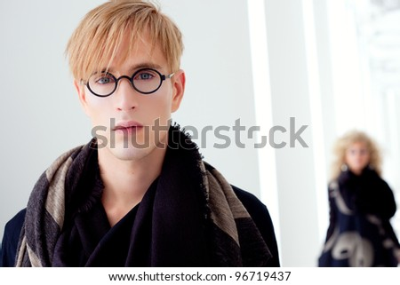 classic modern student man with fashion woman in modern white indoor - stock photo