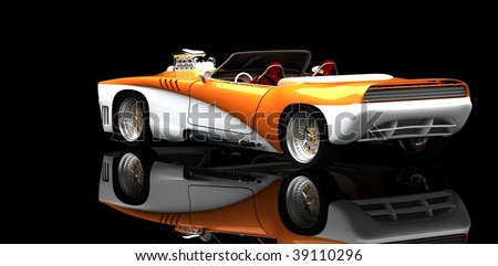 Classic muscle in studio isolated in black studio with reflection - stock photo