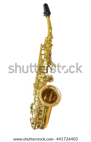 classic musical instrument saxophone isolated on white background - stock photo