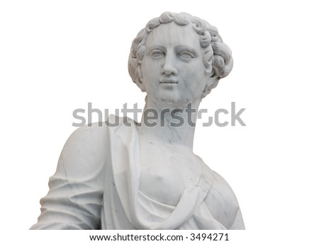 Classic Nymph's Statue isolated over white background - stock photo