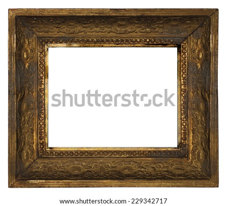 classic old ornate wooden picture frame carved by hand on white background - stock photo