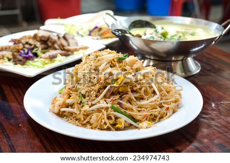 Classic pad Thai noodles served at a Hong Kong Cooked Food Centre - stock photo
