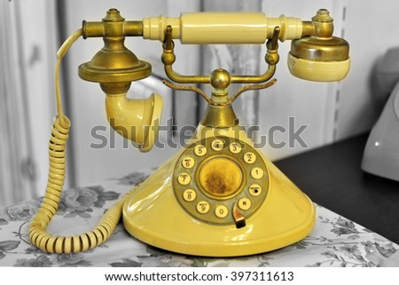 classic phone ,Vintage technology . - stock photo