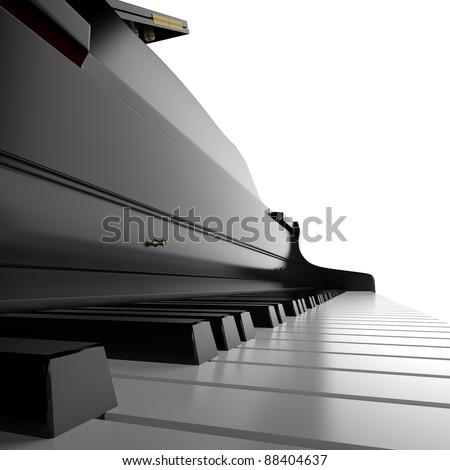 classic piano close up - stock photo