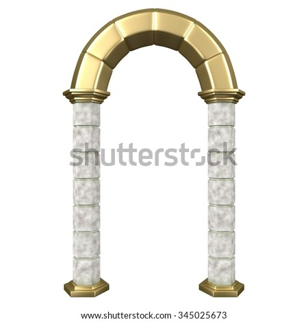 Classic Pillars Arch Isolated On White. 3d rendering. - stock photo