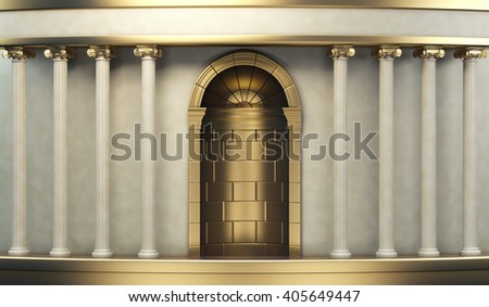 Classic Pillars Background With Gold Elements 3d rendering - stock photo