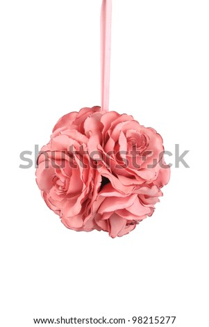 Classic Pink Satin Rose ball - stock photo