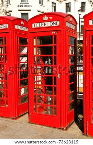 Classic red British telephone box - stock photo