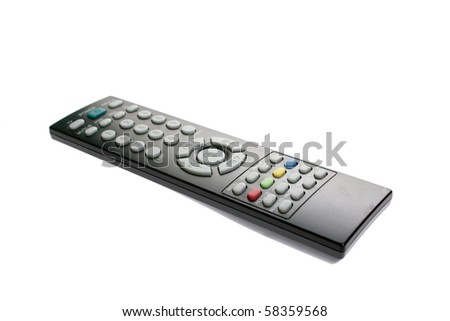 Classic remote control for media center. Isolated on white background - stock photo