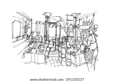 Classic restaurant in Europe hand sketch illustration - stock photo