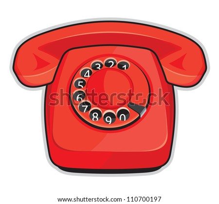 Classic 1970 - 1980 retro dial style red house telephone - stock photo
