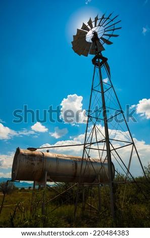 Classic retro Farm Windmill - stock photo