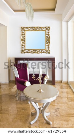 Classic retro interior - armchair, table, mirror - stock photo