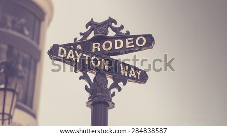 Classic Rodeo Drive street sign, Beverly Hills,CA,USA - stock photo