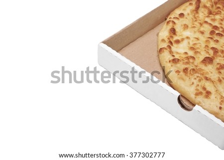 Classic Round Cheese Pie With Brownish Crust Or Italian Quatro Formaggi  Pizza Or Georgian Khachapuri Isolated  On White Background, Top View - stock photo