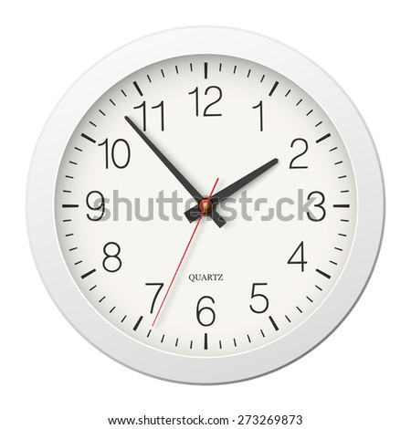 Classic round wall clock with white body isolated - stock photo