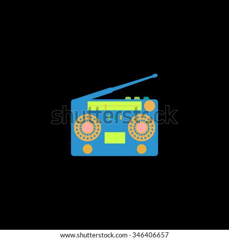 Classic 80s boombox. Colorful symbol on black background - stock photo