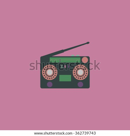 Classic 80s boombox. Simple flat color icon on colorful background - stock photo