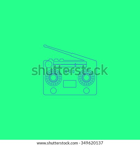 Classic 80s boombox. Simple outline illustration icon on green background - stock photo
